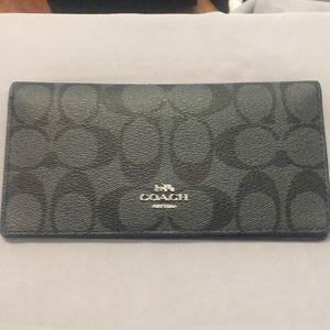 New Coach Black Monogram Bio Fold Wallet